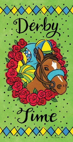Wreath of roses Derby Time Flag