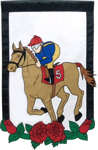 Horse and Jockey Garden Flag