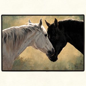two horses nuzzling doormat