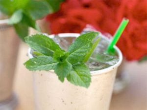 Mint Julep with straw coaster