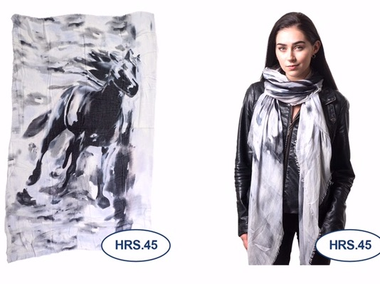 Horse Scarf with Black Horse