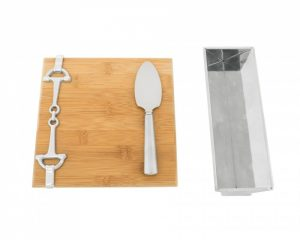 Equestrian Bamboo Cheese Server with Knife and Cracker Tray