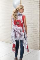 Red Poppy Back Scarf Vest