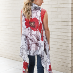 Red Poppy Back Scarf Vest
