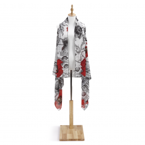 Red Poppy Scarf Vest in red white and black