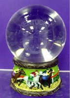 Crystal Globe with racing horses and jockeys - Kentucky