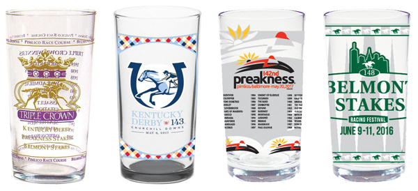 2017 Triple Crown set of glasses