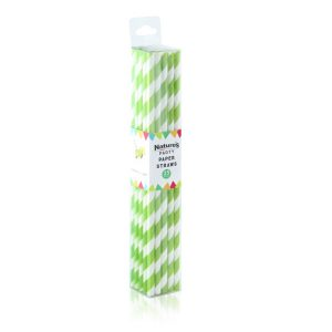 Green and white stripe straws
