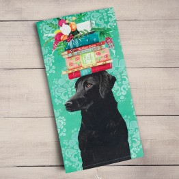 Black Lab with gifts