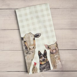 farm animals tea towel