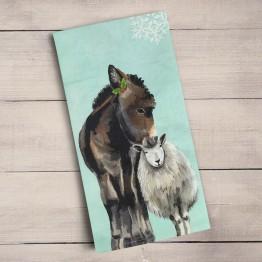 donkey sheep tea towel