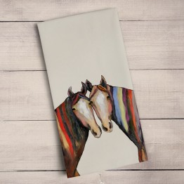Horses with manes of many colors tea towel